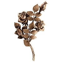 Wall plate roses left hand 30x16cm - 11,75x6,25in Bronze ornament for tombstone 3749-SX