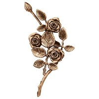 Wall plate roses right hand 27x14cm - 10,5x5,5in Bronze ornament for tombstone 3751-DX