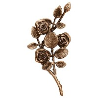 Wall plate roses left hand 27x14cm - 10,5x5,5in Bronze ornament for tombstone 3751-SX