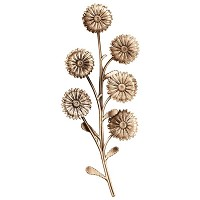 Wall plate daisies 33x15cm - 13x6in Bronze ornament for tombstone 3756