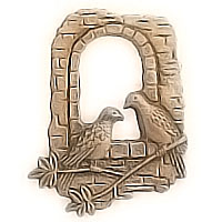 Wall plaque branch with window with two doves 10x6cm - 3,9x2,3in Bronze ornament for tombstone 481012