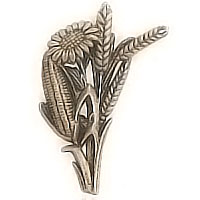Wall plaque branch with Spanish bouquet 12x8cm - 4,7x3,1in Bronze ornament for tombstone 481020