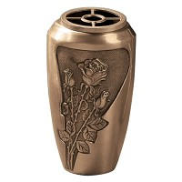 Flowers vase 20x11cm - 8x4,3in In bronze, with plastic inner, wall attached 490-P4