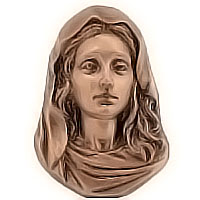 Wall plate Virgin Mary 11x16,5cm - 4,3x6,5in Bronze ornament for tombstone 51403