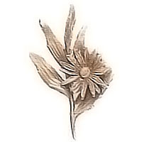 Wall plaque branch with daisy in the center 9x14cm - 3,5x5,5in Bronze ornament for tombstone 54018