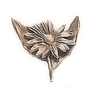 Wall plaque branch with daisy growing 8x10cm - 3,1x3,9in Bronze ornament for tombstone 54020