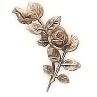 Wall plaque branch with flowered roses left 12x24cm - 4,7x9,4in Bronze ornament for tombstone 55000