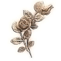 Wall plaque branch with flowered roses right 12x24cm - 4,7x9,4in Bronze ornament for tombstone 55000