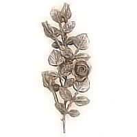 Wall plaque branch with central flowered roses and buds 15x40cm - 5,9x15,7in Bronze ornament for tombstone 55003