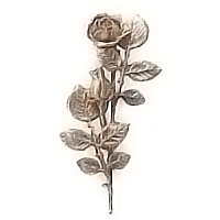 Wall plaque branch with flowered central roses right 12x28cm - 4,7x11in Bronze ornament for tombstone 55005