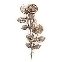 Wall plaque branch with flowered central roses left 12x28cm - 4,7x11in Bronze ornament for tombstone 55005