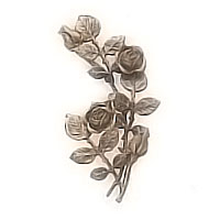 Wall plaque branch with flowered roses and buds left 20x30cm - 7,8x11,8in Bronze ornament for tombstone 55008
