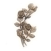Wall plaque branch with flowered roses and buds right 20x30cm - 7,8x11,8in Bronze ornament for tombstone 55008