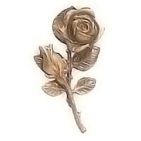 Wall plaque branch with flowery rose 10x20cm - 3,9x7,8in Bronze ornament for tombstone 55016