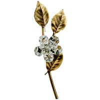 Branch with rose 18cm - 7in Bronze and crystal gravestones decoration