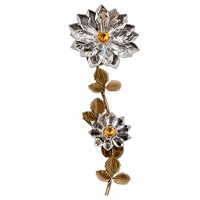 Wall plaque branch with double snowflake 24cm - 9,5in Bronze and crystal ornament for tombstone 301108