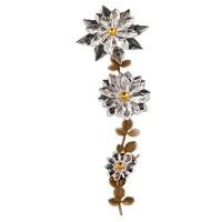 Wall plaque branch with triple snowflake 36cm - 14in Bronze and crystal ornament for tombstone 303107