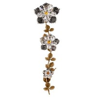 Wall plaque branch with double water lily 36cm - 14in Bronze and crystal ornament for tombstone 303103