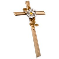 Crucifix with snowflake 28cm - 11in In bronze, with crystal, wall attached AS/404300108