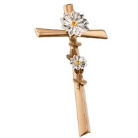 Crucifix with snowflakes 40cm - 15,75in In bronze, with crystal, wall attached AS/405301108