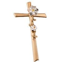 Crucifix with water lilies 40cm - 15,75in In bronze, with crystal, wall attached AS/405301102