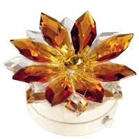 Amber crystal snowflake 8,5cm - 3,3in Led lamp or decorative flameshade for lamps and gravestones