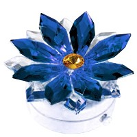 Blue crystal snowflake 8,5cm - 3,3in Led lamp or decorative flameshade for lamps and gravestones