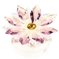 Pink crystal snowflake 8,5cm - 3,3in Led lamp or decorative flameshade for lamps and gravestones