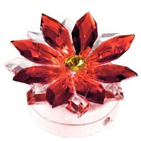 Red crystal snowflake 8,5cm - 3,3in Led lamp or decorative flameshade for lamps and gravestones