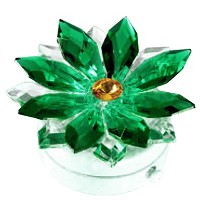 Green crystal snowflake 8,5cm - 3,3in Led lamp or decorative flameshade for lamps and gravestones