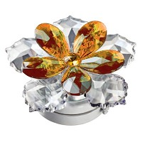 Crystal water lily orange 10cm - 4in Led lamp or decorative flameshade for lamps and gravestones