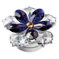 Crystal water lily blue 10cm - 4in Led lamp or decorative flameshade for lamps and gravestones