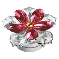 Crystal water lily red 10cm - 4in Led lamp or decorative flameshade for lamps and gravestones