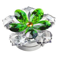Crystal water lily green 10cm - 4in Led lamp or decorative flameshade for lamps and gravestones