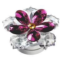 Violet crystal water lily 10cm - 4in Led lamp or decorative flameshade for lamps and gravestones