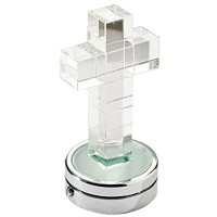 Crystal cross 6cm - 2,3in Led lamp or decorative flameshade for lamps and gravestones