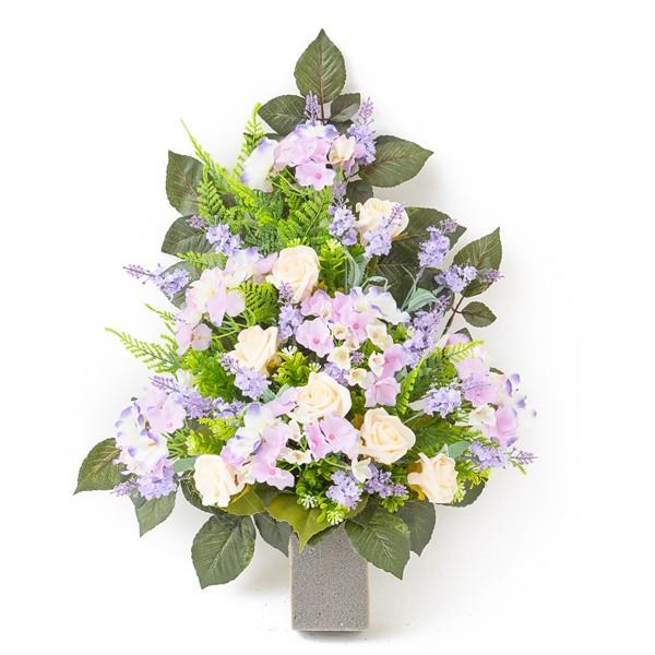 Fiori Ortensie Bianche : Mazzo di rose bianche e ortensie in plastica con verde