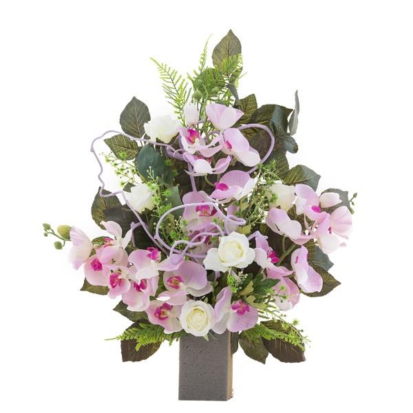 Preferenza Mazzo di rose e orchidee rosa - In plastica, con verde decorativo QI17