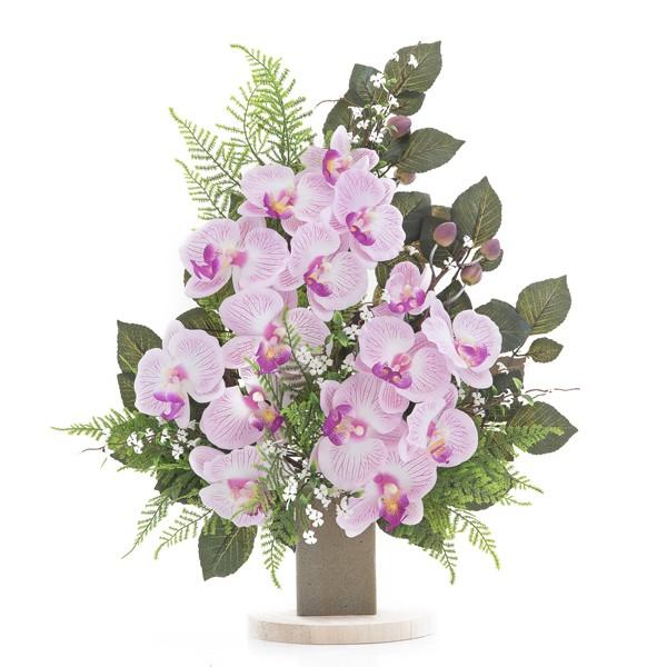 Mazzo di orchidee rosa in plastica con verde decorativo for Fiori artificiali