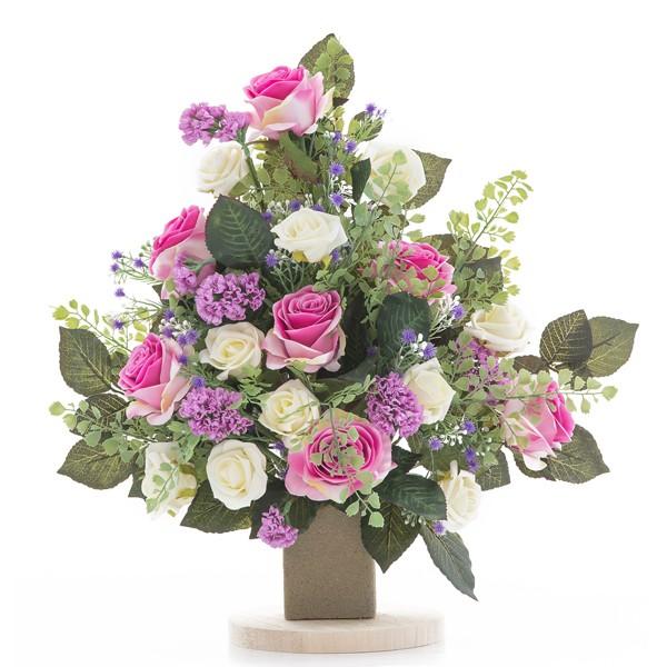 Fiori Ortensie Bianche : Mazzo di rose bianche e ortensie viola in plastica con