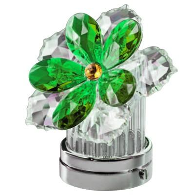 Ninfea inclinata in cristallo verde 10cm lampada led o for Lampade votive a led