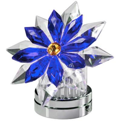 Fiocco di neve inclinato in cristallo blu 12cm lampada for Lampade votive a led
