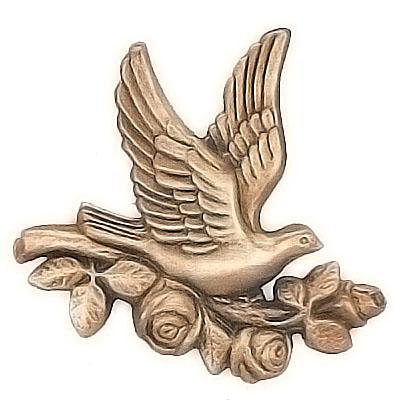 ornement fun raire branche avec colombe en vol 15x15cm d coration de bronze 3084. Black Bedroom Furniture Sets. Home Design Ideas