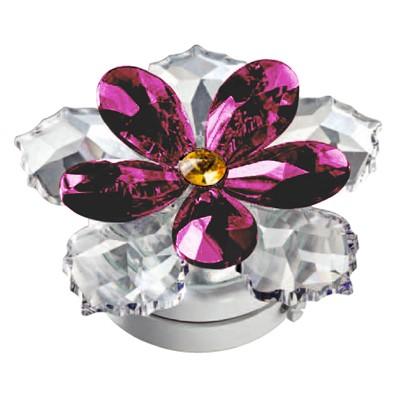Ninfea in cristallo viola 10cm lampada led o fiamma for Lampade votive a led