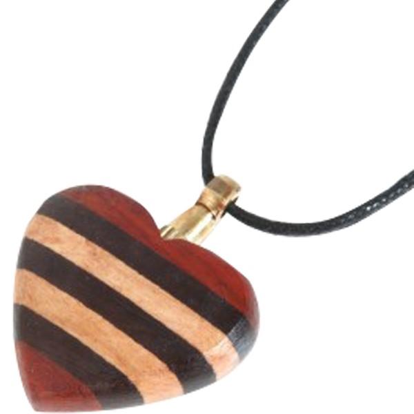 Collana porta polveri cuore in legno scuro a strisce - Ciondolo porta ceneri ...