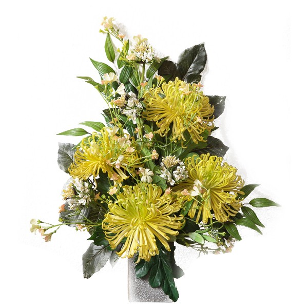 Eccezionale Mazzo di crisantemi gialli - In plastica, con verde decorativo ZF17