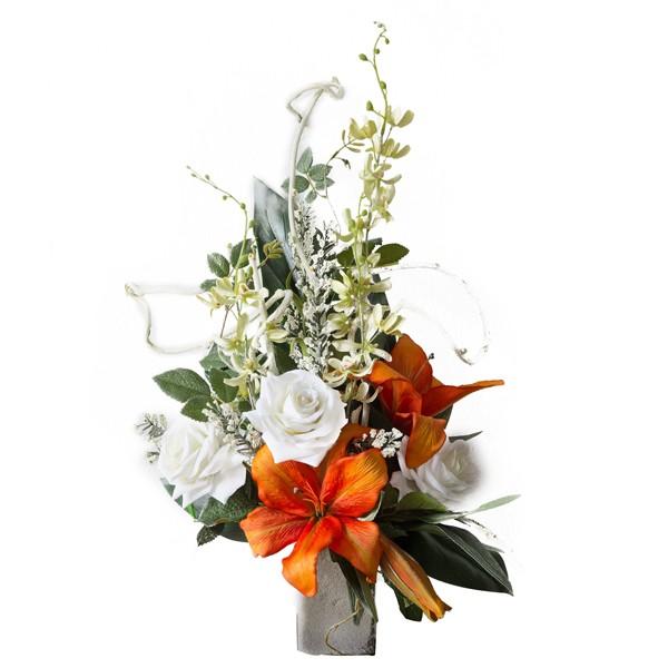 Ben noto Mazzo di rose e orchidee arancioni - In plastica, con verde decorativo AE31