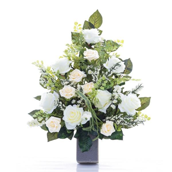 Ben noto Mazzo di rose bianche - In plastica, con verde decorativo RM46