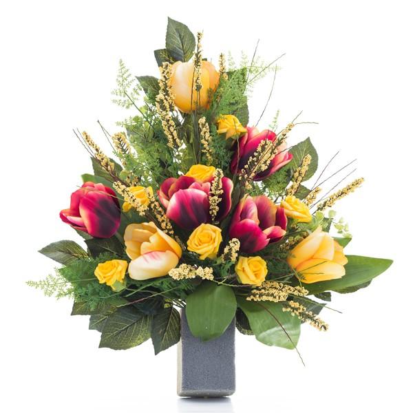 Preferenza Mazzo di rose gialle e tulipani rossi - In plastica, con verde  XW56