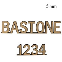Letters and numbers Bastone, in various sizes Single fret-worked bronze plaque 5mm - 1,9in